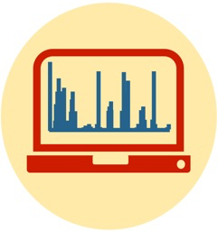 Image depicting a laptop computer with a bar chart on the screen