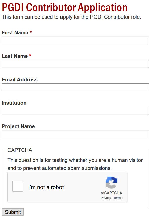 PGDI Contributor Application